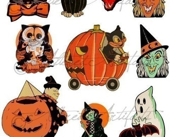 Printable Retro Halloween Clip Art Printable Vintage Halloween Scraps Ghost Witch Owl Black Cat Digital Collage Sheet Instant   Download