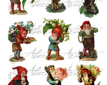 Printabe Garden Gnome Paper Doll Printable Elf Sprite Gnomes Clip Art Digital Collage Sheet Instant Download