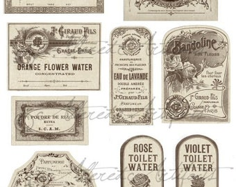 Printable Vintage French Perfume Labels Printable Bottle Label Printable Antique Fragrance Label Digital Collage Sheet Download