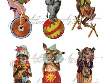 Printable Circus Anamal Preformer Puppet Vintage Paper Theater Clip Art Scraps Clowns Anamal Acts Digital Collage Sheet Instand Download