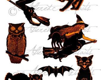 Printable Vintage Halloween Clip Art Printable Retro Scraps Halloween Black Orange Witch Owl Cat Bat Digital Collage Sheet Instant Downioad