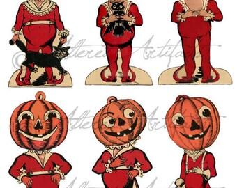 Printable Pumpkin Head Halloween Clip Art Printable Retro Beistle Scraps Black Orange Vintage Halloween Digital Collage Sheet Download
