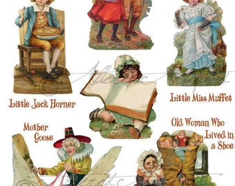 Instant Download Storybook 1 Vintage Altered Art Scrap Collage Sheet Puppet Mother Goose Old Woman in a Shoe Jack Horner Little Miss Muffet