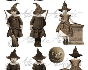 Printable Vintage Front and Back Witch Puppet Printable Halloween Sepia Paper Doll Scraps Clipart Steampunk Digital Collage Sheet Download