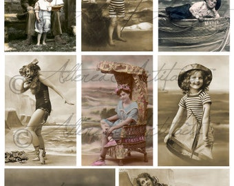 Instant Download Sea and Sun Summer Fun Victorian Children Cab Cards Beach Ocean Tin Prints Digital Collage Sheet