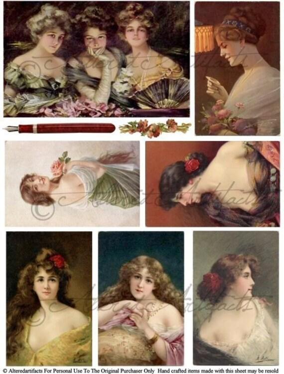 Lovely Laidies PostcardsVictorian Women Art Paintings Vintage Postcard Clip Art Digital Collage Sheet Download