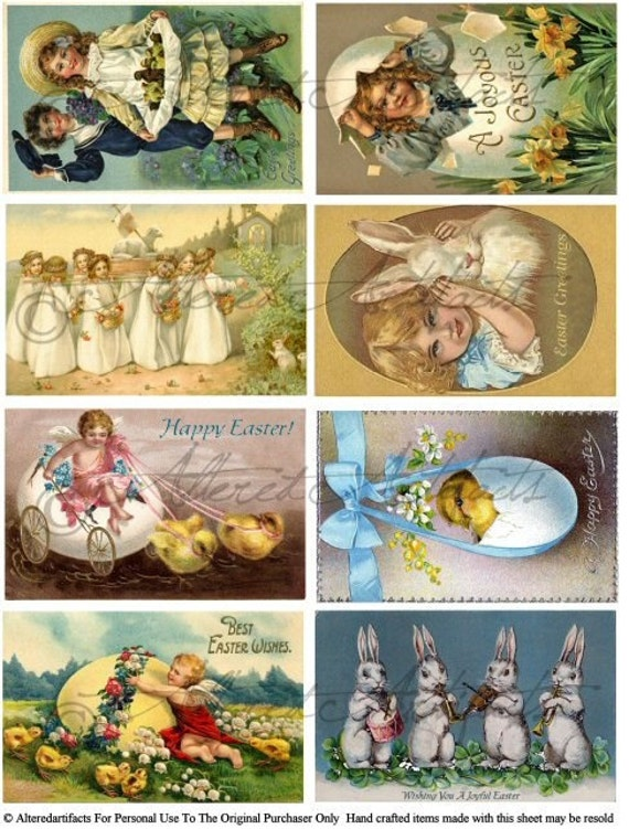 Easter Tiddings Vintage Postcard Scraps Bunny Love Children Digital Collage Sheet Download