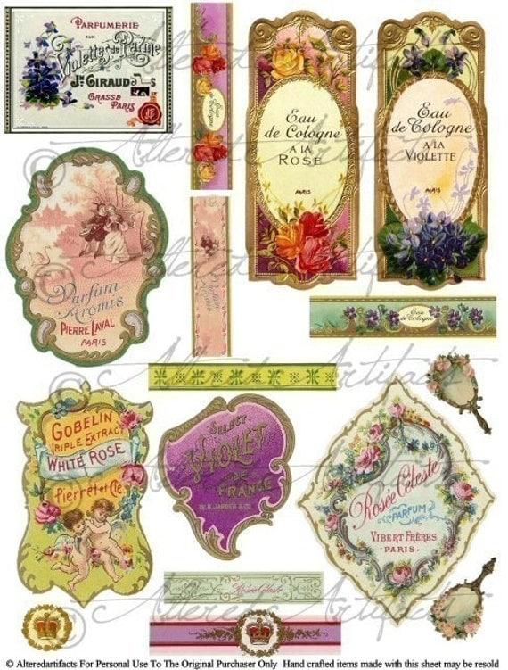 Vintage French Perfume Bottle Fragrance Label Lable Digital Collage Sheet Download Violets Roses