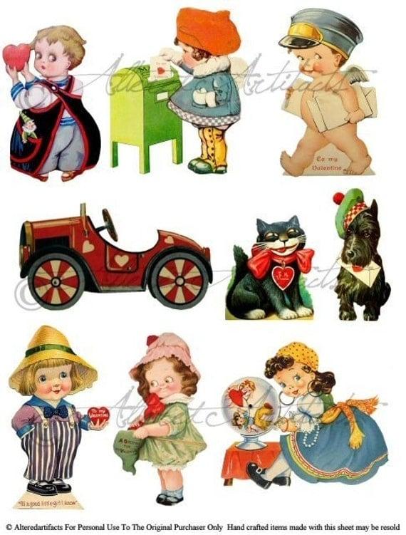 Googlie Eyes Vintage Valentine Digital Collage Sheet  Download