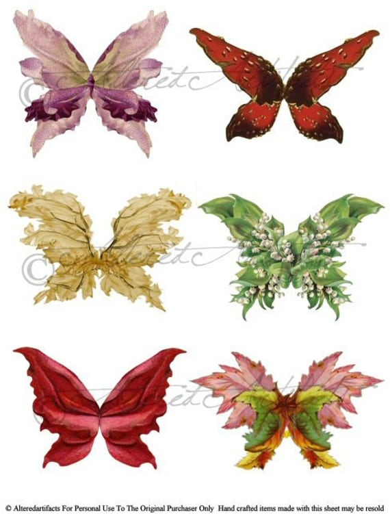 Botanical Fairy Wings Digital Collage Sheet Enchanted Fairyland Vintage Clip Art Scrap