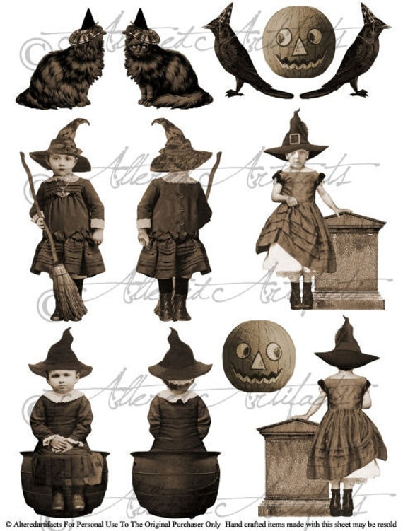 Printable Vintage Front and Back Witch Puppet Printable