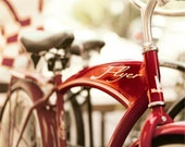 Photograph of Red American Flyer Bike Print, Bicycle Photography, Baby Boy, Nursery Decor, Retro, Modern, Neutral Wall Art