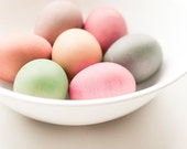 Easter eggs, pastel wall decor, food photography, minimalist, spring, pink, yellow, green, rainbow colored 5x7