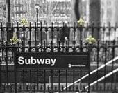 New York City Art- NYC Subway- Black & White New York Photography- Gold Black White Wall Art- 42nd Street at Bryant Park