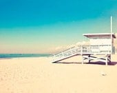 Beach photography, Blue, Lifeguard Hut, Malibu Beach, Yellow, Turquoise, Blue Beach, White, California Print