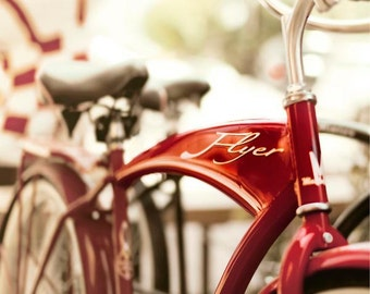 Bicycle Photography,  Red American Flyer Bike Print, Retro, Modern, Bike Wall Art