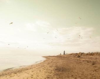 Pastel Beach Photography, Lighthouse Art, Brown, Pastel Beach Decor, Mint Green Ocean, Beach House Decor, Nautical