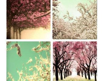 SALE, Cherry Tree Prints, Pink, Mint Green, Set of 4 Prints, Tree Photos, Spring, Girl Nursery Decor, Save 50%