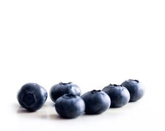 Blueberry Print, Food Photography, White, Navy Blue, Kitchen Art, Fruit Print, Still Life Modern Kitchen Decor