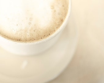 Coffee Print, White, Beige, Food Photography, Neutral, French Coffee Art