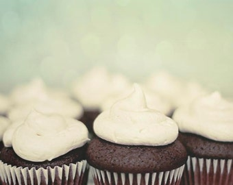 Food Photography, Cupcake Print in Mint Green & Brown, Pastel Kitchen Wall Art, Red Velvet Cupcakes
