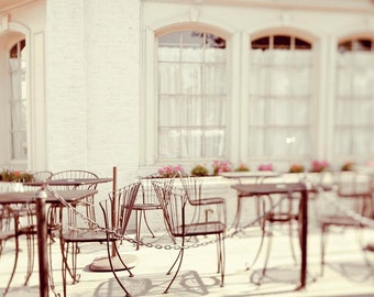 Paris Photography, Cafe, Beige, Pink, French Bistro, Romantic Decor, Travel Photography