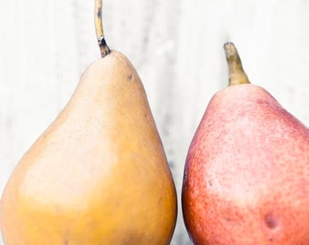 Pears Print, Rustic Kitchen Decor, Yellow, Red, Orange, Gold, Food Photography, Kitchen Art, 11x14 Print