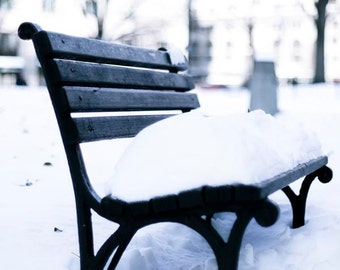 Black and White Photography, New York City Print, Snow on City Bench, Winter Art, New York Photography