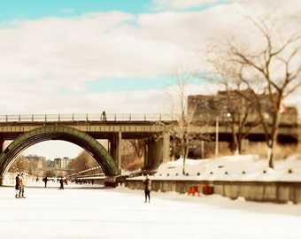 Ottawa Photography, Skating, Winter, Rideau Canal, Travel Photography, Large Wall Art, White, Blue, Brown, Winterlude