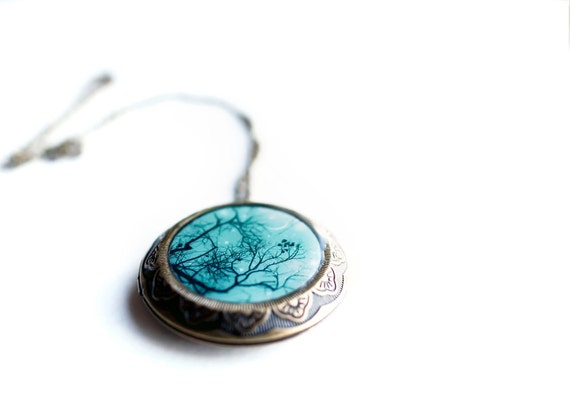 Whimsical teal holiday gift for women large photo art locket victorian jewelry vintage inspired stocking stuffer sister