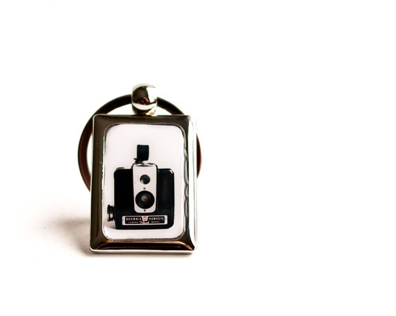 Hipster Keychain for photographers, for men, vintage camera photography keychain, metal, fashion accessory, keepsake, Oht