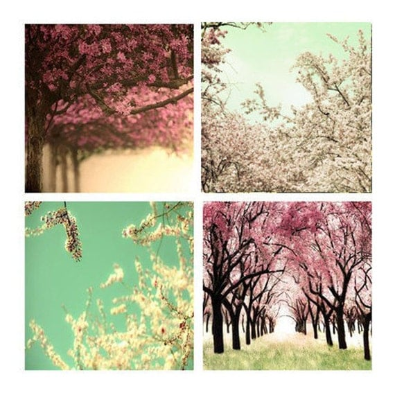 SALE, Cherry Tree Prints, Pink, Mint Green, Set of 4 Prints, Tree Photos, Spring, Girl Nursery Decor, Save 50%