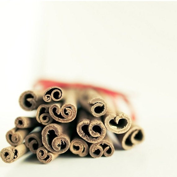 Food Print, Cinnamon Sticks, Brown, White, Food Photography, Art for Kitchen, Rustic Kitchen Decor, Neutral