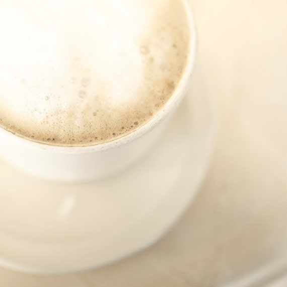Coffee Print, White, Beige, Food Photography, Neutral, French Coffee Art, Paris Food Prints, Cafe Latte