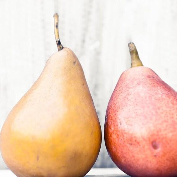 Pears Print, Rustic Kitchen Decor, Yellow, Red, Orange, Gold, Food Photography, Kitchen Art, 11x14 Print
