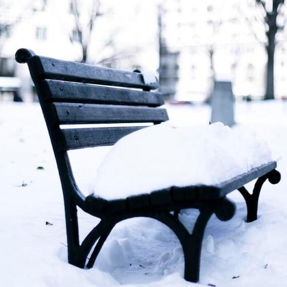 Black and White Photography, New York City Print, Snow, Bench, Winter Scene, New York Print, NYC Art