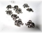 Elephant Charms, Silver, 10 peices