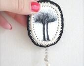 Fiber Art Wearable/ SALE/ Illustration & Crochet Brooch / Eerie Trees