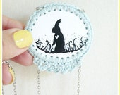 SALE/ Illustration & Crochet Necklace/Rabbit Heart Silhouette Powder Blue