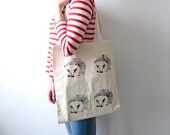 The Hedgehog Tote Bag/ Screen Printed Fabric/ For Books