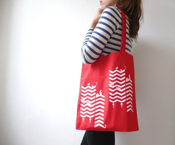 Screen Printed Canvas Tote Bag/ In A Chevron Daze Red/ Hand Pulled