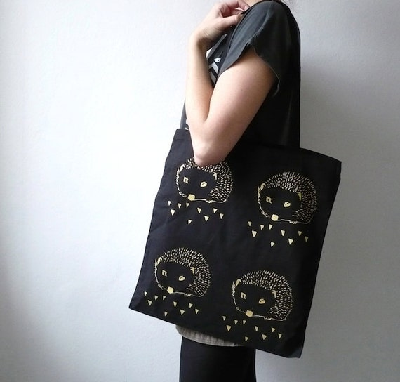 Organic Cotton Bag/ The Hedgehog/ Screen Print Black Gold