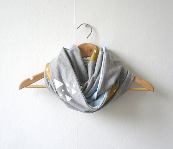 Infinity Scarf Hand Printed / Moon & Mountains Grey Gold Blue