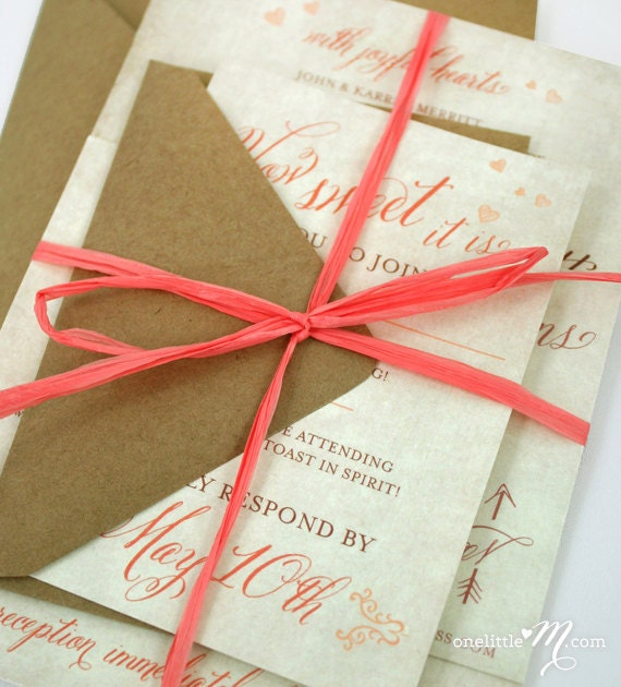 Coral Colored Wedding Invitations: Rustic Sweet Coral Invitation Suite SAMPLE ONLY By Onelittlem