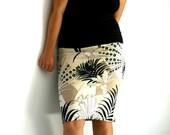 Cotton Flower Pencil Skirt-knee length handmade elegant and romantic made to measure skirt by tasi fashion