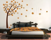 Autumn Tree with Leaves Blowing in the Wind - Vinyl Wall Decal