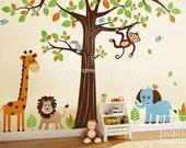 Jungle Wall Decal Safari Animals Wall Decal HUGE Set Tree Wall Decal - Lion Elephant Monkey Giraffe Nursery Kids Decal Sticker Baby Room Art