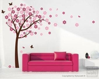 Cherry Blossom Wall decal,  Blooming Cherry Tree Wall Sticker, Butterflies Flower Tree Vinyl Wall Decal Kids Nursery, Cherry Tree Sticker