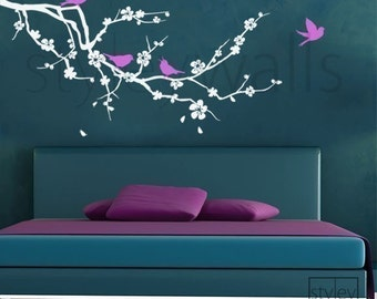 Cherry Blossom Branch Wall Decal, Cherry Branch Wall Decal Sticker, Cherry Blossom Tree with Birds Wall Decal for Nursery Babyroom Decor