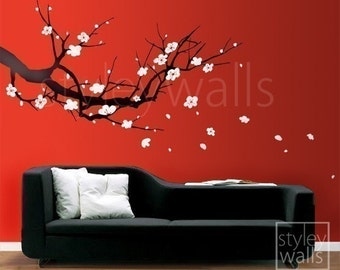 Cherry Blossom Branch Wall Decals, Branch Nursery Wall decals, Plum Sakura Tree Wall Decal, Cherrom Blossom Tree Home Decor, Cherry Branch